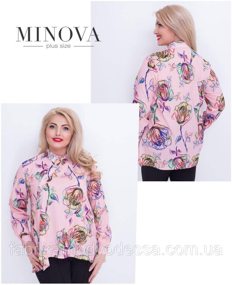 Весенняя расклешенная блуза на пуговицах принт розы Производитель Украина ТМ Minova (50,52,54,56,58)