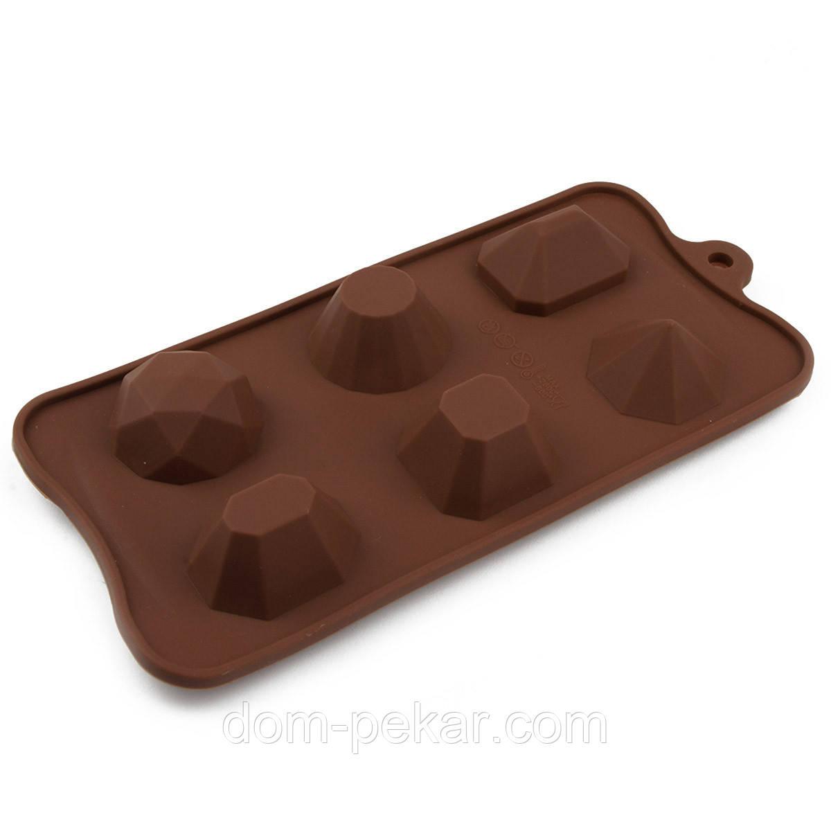 Форма для конфет силикон Драгоценные камни 6 шт