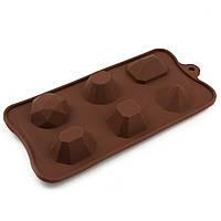 Форма для конфет силикон Драгоценные камни 6 шт, фото 1