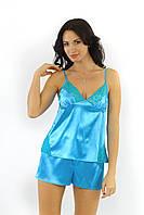 Роскошная пижама из сатина в нежном голубом цвете