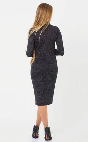 Приталенное женское платье Меланж люрекс цвет черный размер  44, 46, фото 2