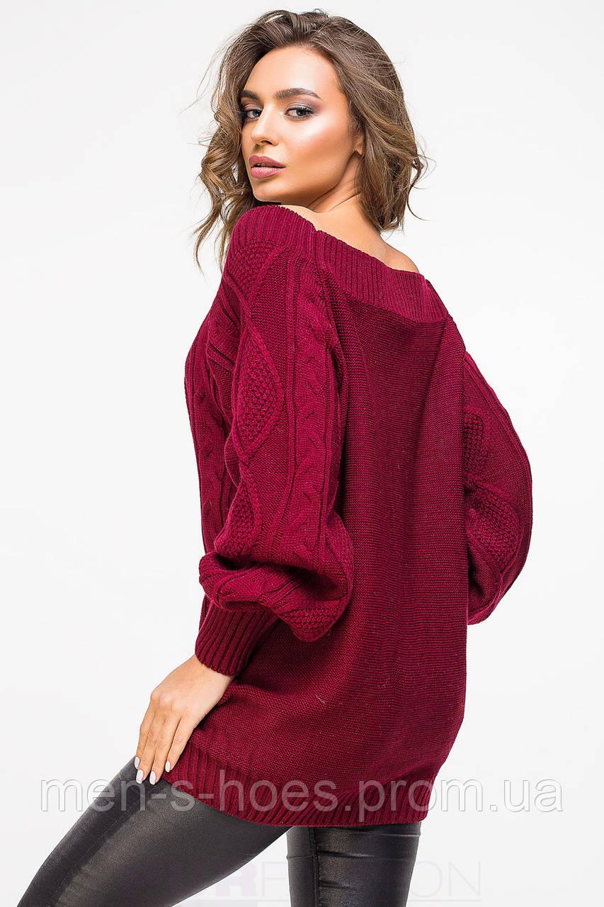 свитер бордовый вязаный женский на каждый день продажа цена в