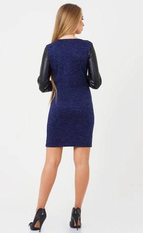 Повседневное женское платье Каролина цвет  синий меланж размер  44, 46, ангора  мягка экокожа, фото 2