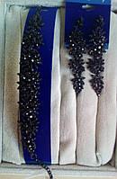 Комплект удлиненные  серьги и браслет с черными камнями, высота 9 см. , фото 1