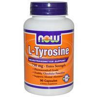 L-тирозин, Now Foods, Двойная сила,  750 мг, 90 капсул
