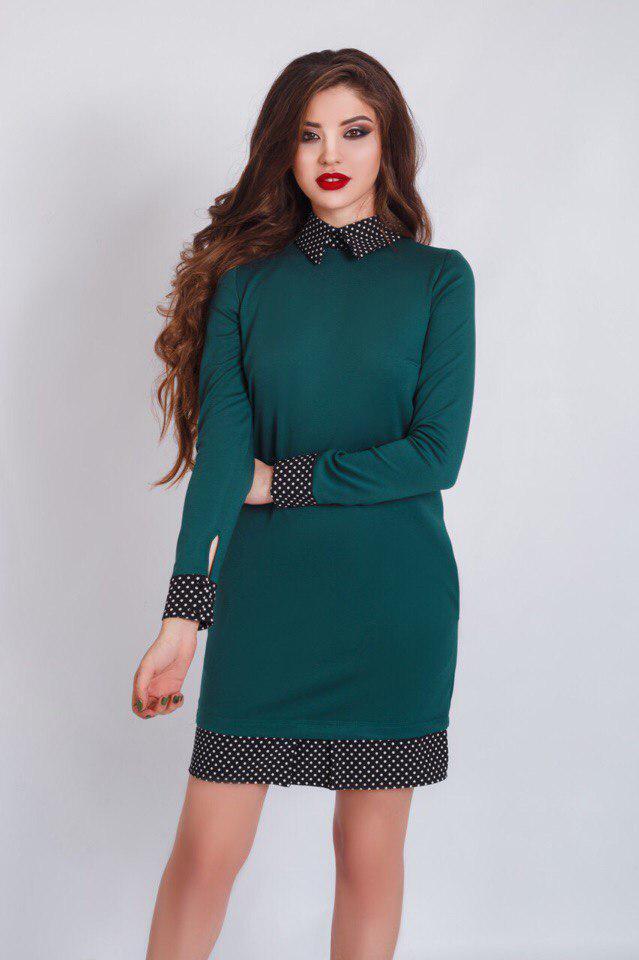 """Облегающее офисное платье """"NARA"""" с воротничком и манжетами в горошек (3 цвета)"""