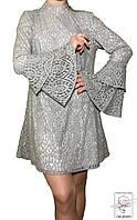 Женское платье-балахон серое р. S 44