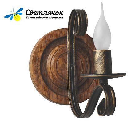 """Деревянное бра """"Колесо"""" светлый дуб на 1 лампу, фото 2"""
