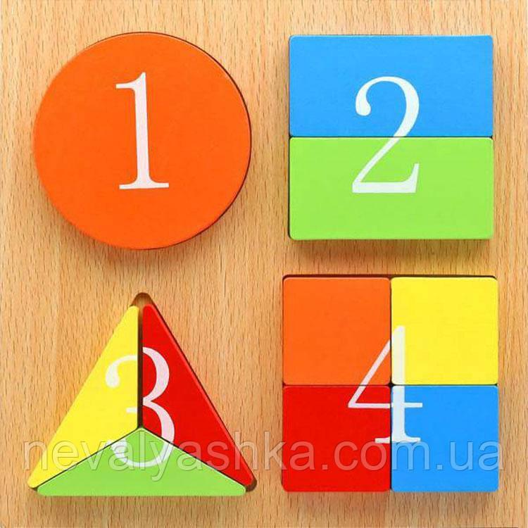 Деревянная игрушка Пазл Геометрические цифры Вкладыш Пазлы, А03246, 000027