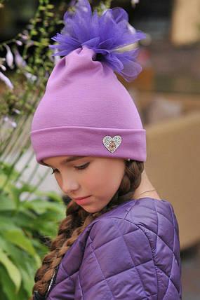 """Детская трикотажная шапка для девочки """"HEART"""" с фатиновым помпоном, фото 2"""