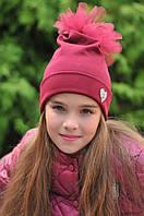 """Детская трикотажная шапка для девочки """"HEART"""" с фатиновым помпоном (5 цветов)"""