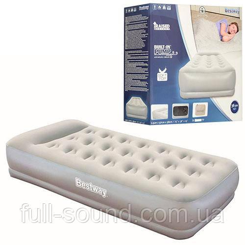 Надувная велюровая кровать c насосом Bestway 67455