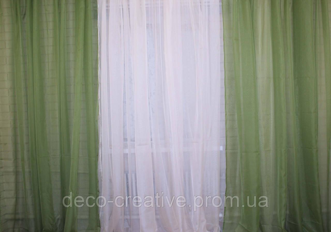 Комплект из шифона, декоративная гардина. Цвет оливковый с бежевым 002дк