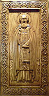 Резная икона Сергия Радонежского. Мерная икона  Сергей