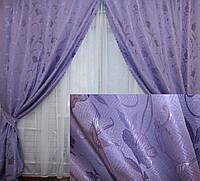 Комплект готовых штор , цвет фиолетовый 087ш 2 шторы шириной по 1м.