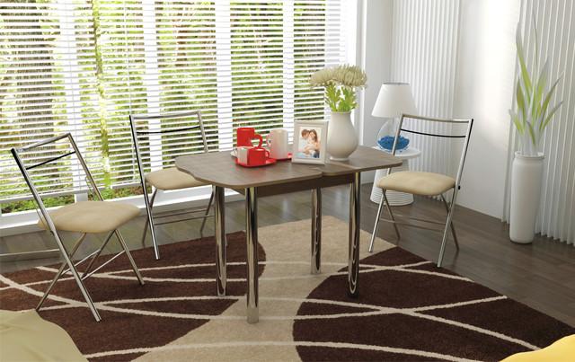 Фото: стіл кухонний з металевими ніжками в розкладеному вигляді (в інтер'єрі)