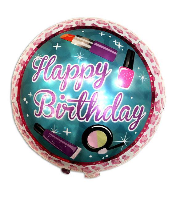 Шар фольгированный круглый Happy Birthday помады, 45 см