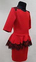Детское платье красное с баской и кружевом Виола 116, 122, 128, 134см