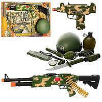 Военный набор детский (автомат, каска, фляга, бинокль, фонарик и др.) 33470