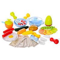 Шикарный игровой набор супермаркет на колесиках с продуктами, посудой 889-93-94
