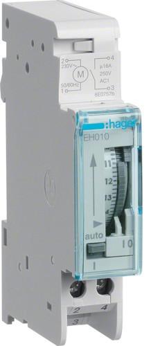 Таймер аналоговый, суточный, 16А, 1НО, без резерва хода, 1м, Hager EH010
