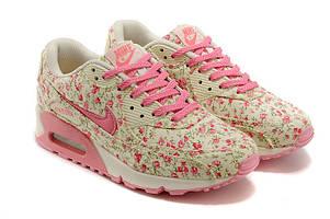 Кроссовки женские Nike Air Max 90 Pink Flower (Найк Аир Макс розовые) размеры: 36-37