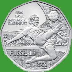 Австрия 5 евро 2008 г. Футбол, серебро UNC.