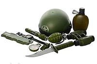 Военный игровой набор (автомат, каска, фляга, бинокль, фонарик и др.) 33470