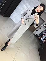 Женское шерстяное пальто миди с разрезами по бокам