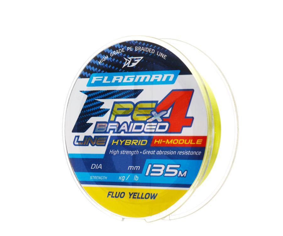 Шнур Flagman PE Hybrid F4 135m FluoYellow 0,06mm. 2,7кг/6lb