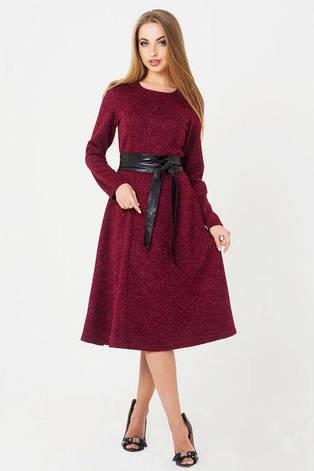 Повседневное классическое женское платье Татьяна цвет  бордовый  размер  44, 46, ангора меланж, фото 2