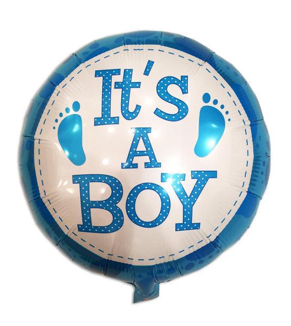 """Шар фольгированный круглый """"It s a boy"""" со следами, 45 см"""
