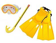 Маска, трубка, ласты для плавания набор Intex