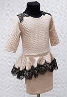 Детское платье кофе с молоком и кружевом Виола 116, 122, 128, 134см