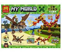Конструктор Lele My World 33069 Дракон 2 вида (аналог Lego Майнкрафт, Minecraft)