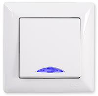 Выключатель одноклавишный с подсветкой GUNSAN VISAGE Белый