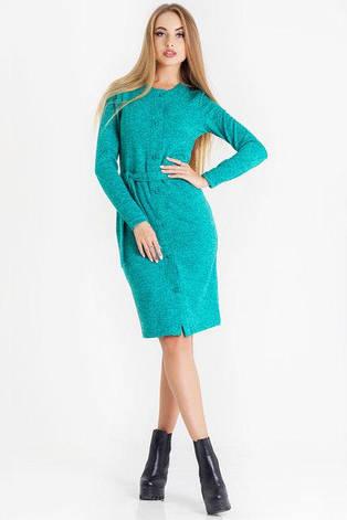 Эффектное новое повседневное женское платье Ирма цвет бирюза  размер  44, 46, 48 ангора, фото 2