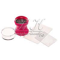 Печать силиконовая 3в1 (с трафаретом и скрапером),  розовая