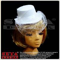 Белая шляпка с вуалью «Betty» 22х19х10 см.