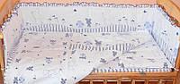 Комплект постельного белья в детскую кроватку Зайка синий  из 3 элементов (МАЛЕНЬКИЙ ПОДОДЕЯЛЬНИК)