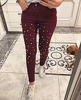 Оригинальные джинсы декорированы жемчугом, фото 1