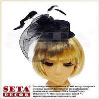 """Шляпка-мини """"Мона"""" с вуалью черная."""