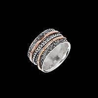 Серебряное женское кольцо Сатин с позолотой
