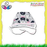 Шапочка для новорожденных с завязочками