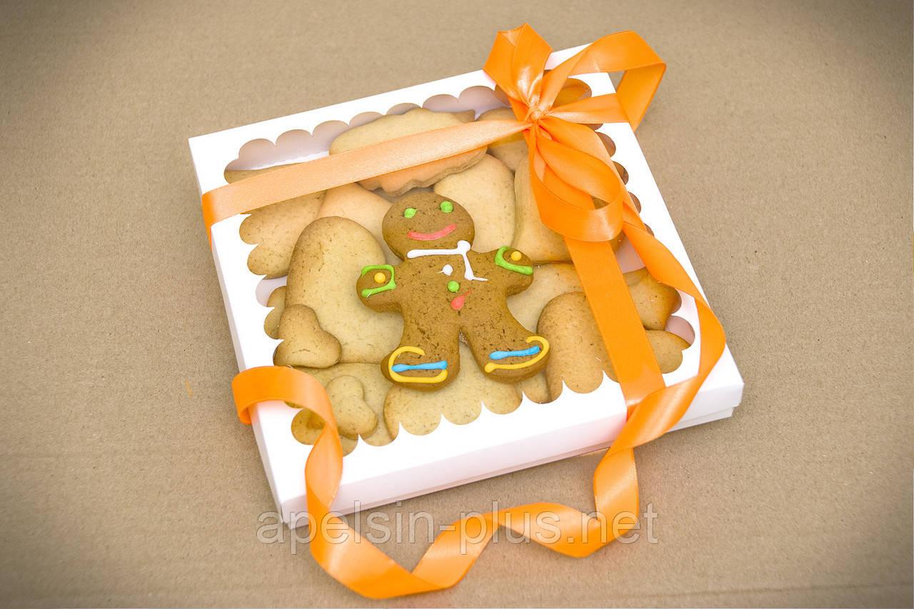 Коробка для пряников и печенья с окошком 21 см 21 см 3 см ( упаковка 10 штук ))
