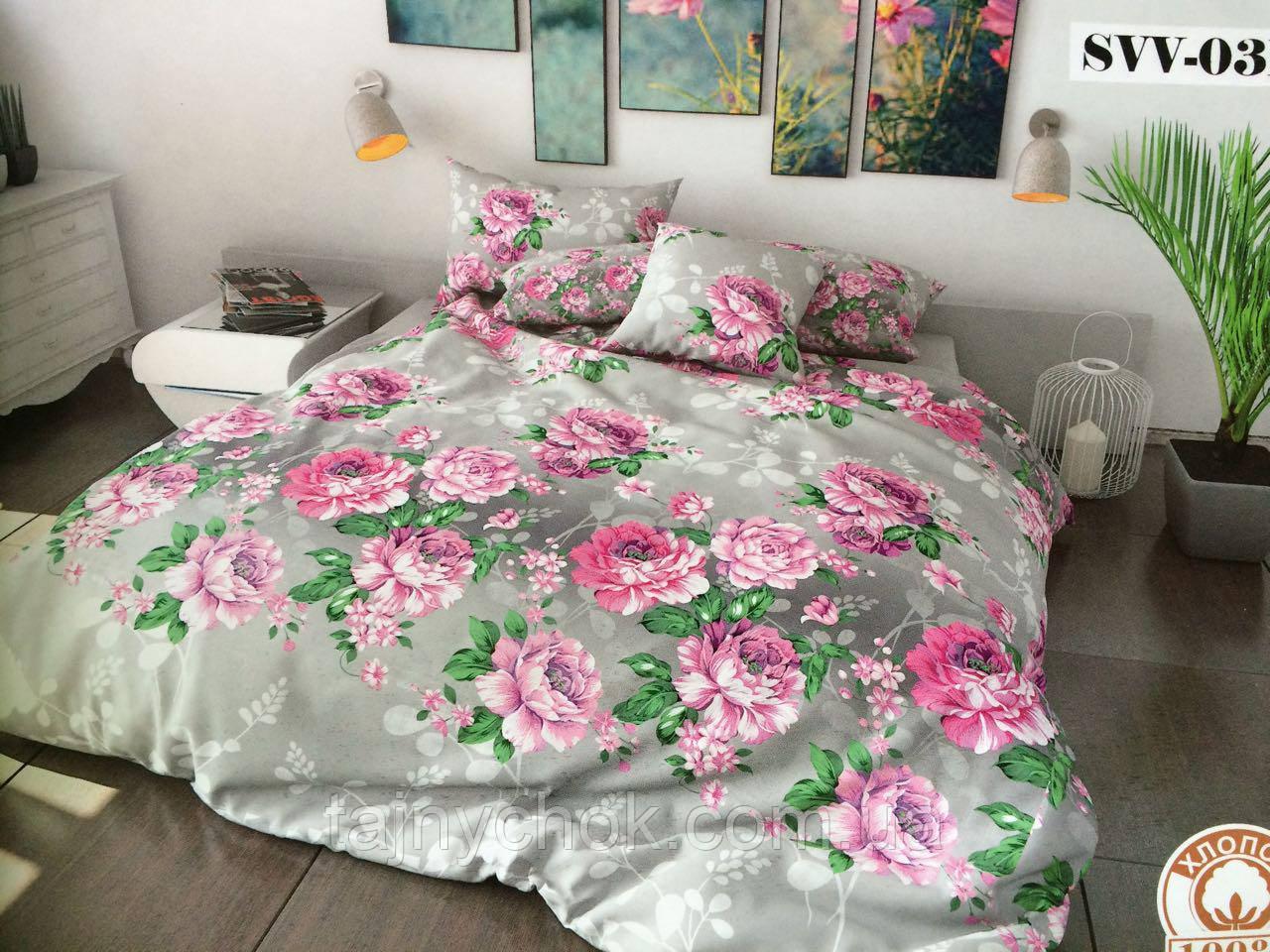 """Полуторное постельное белье """"Розовые цветы"""""""