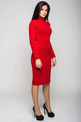 Повседневное облегающе женское платье Гольф цвет красный  размер  42, 44, 46, 48 ангора, фото 2