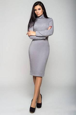 Повседневное облегающе женское платье Гольф цвет серый  размер  42, 44, 46, 48 ангора, фото 2