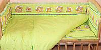 Комплект постельного белья в детскую кроватку Мишка в круге зеленый  из 3-х элементов
