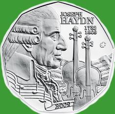 Австрия 5 евро 2009 г. 200-летняя годовщина со дня смерти Йозефа Гайдна , серебро UNC.